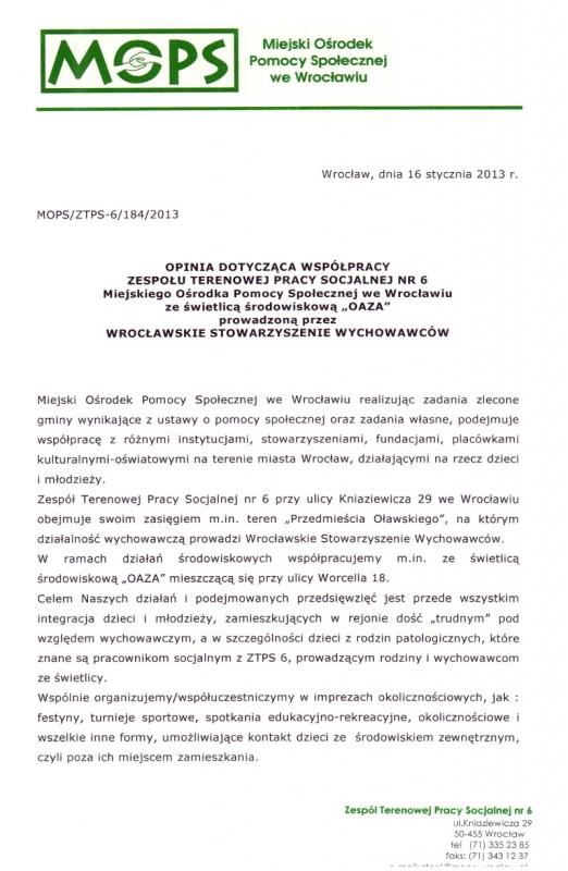 Miejski Ośrodek Pomocy Społecznej - rok 2013 - strona 1