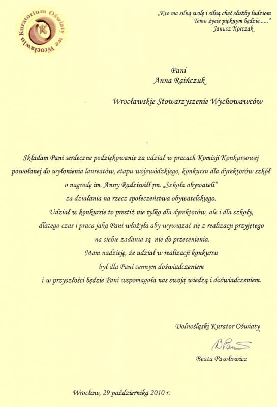 Kuratorium Oświaty we Wrocławiu - podziękowanie