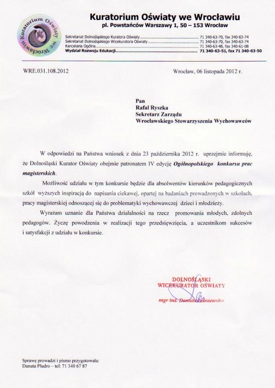 Kuratorium Oświaty we Wrocławiu - patronat